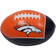 """Denver Broncos 4'' Quick Toss Softee Football by Fotoball. $3.95. Team logo and colors. Safe for indoor use. All new materials. Approximately 4"""" in diameter. Polyester fiber. Denver Broncos 4'' Quick Toss Softee FootballSafe for all agesAll new materialsSafe for indoor useOfficially licensed NFL productPolyester fiberTeam logo and colorsApproximately 4"""" in diameterImportedAll new materialsPolyester fiberApproximately 4"""" in diameterTeam logo and colorsSafe for indoor useSaf..."""