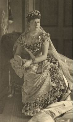 Princess Beatrice wearing her mother's wedding flounce and veil, 1885. She was the only one of Victoria's daughters who was permitted to wear it.
