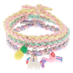 Shop Claire's for the latest trends in jewelry & accessories for girls, teens, & tweens. Find must-have hair accessories, stylish beauty products & more. Cute Bracelets, Colorful Bracelets, Girls Accessories, Jewelry Accessories, Fashion Accessories, Polymer Clay Cupcake, Tattoo Choker Necklace, Fruit Animals, Unicorn Fashion