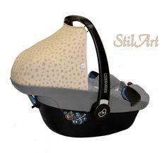 Babyschalenbezüge - Verdeck f. Maxi Cosi Pebble ☆ Sterne beige / taupe - ein Designerstück von by-Stilart bei DaWanda
