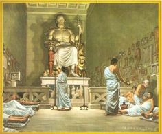 Dream Incubation -> Ancient Greece: Patients preparing for dream incubation inside the Asclepeion