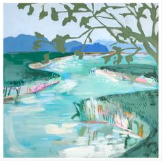"""""""Teal River"""" Print Limited edition high resolution print -only 50 available. Hand signed by artist. Teal Wall Decor, Teal Walls, Summer Prints, Small Paintings, Beach Art, Diy Painting, Pretty Pictures, Art History, River"""