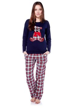 Vente Etam / Homewear / Pyjamas / Ensemble 2 Pièces Teddy Light Marine & Rouge