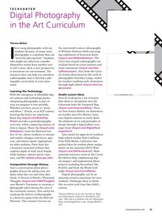 School Arts article on incorporating digital photography into the art curriculum
