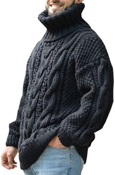 Mens Cable Knit Sweater, Pullover Sweaters, Men Sweater, Cardigans, Mens Jumpers, Casual Fall, Long Sleeve Sweater, Knitwear, Turtle Neck