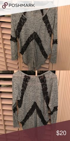 Free People We the Free Flying V Hacci Grey Top Free People long sleeve, semi-sheer knit/lace top. Super comfortable and casual style with exaggerated shirttail. Size Small. Free People Tops