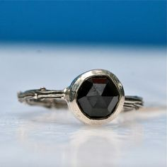 Beautiful sterling silver and rose cut black spinel engagement ring size 9.5 by Zulasurfing Mother's Day Gift