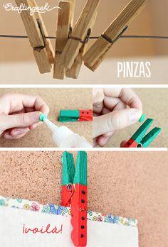 Pinta tus pinzas para decoración :) Súper fácil www.craftingeek.me