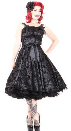 Hell Bunny Tattoo Flocked Dress in Black | Blame Betty