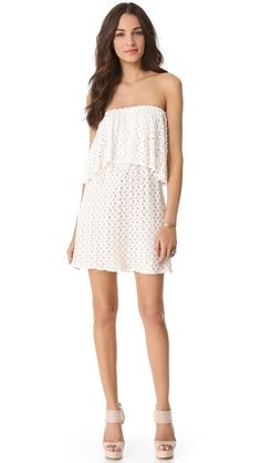 Kiawah...Tbags Los Angeles Tiered Strapless Crochet Dress