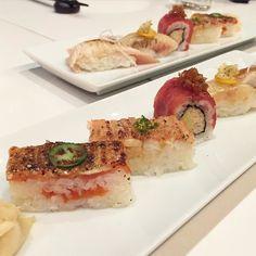 Aburi Sushi love  @aburirestaurants Aburi sampler $20 #instamood #japanesefood #japanese #aburi #mikutoronto #miku #igers #igdaily #instafood #instagood #instamood #food #foodie #foodgasm #foodpics #foodporn #foodpornto #toreats #toronto #torontoeats #torontofood #vsco #vscocam #sushi #aburi #aburisushi #tuna #salmon #sogood by jyauu