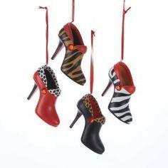 Kurt Adler Resin Jungle Short Boot Ornament Set of 4 Christmas Shoes, Christmas Love, All Things Christmas, High Heel Pumps, Stiletto Heels, Pet Tiger, Shoe Tree, Personalized Christmas Ornaments, Mixing Prints