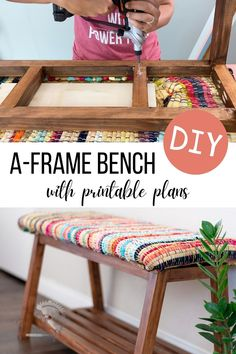 Build a simple yet modern A-frame DIY upholstered bench with shoe storage underneath with easy to follow plans and tutorial! Great for entryways and mudrooms. #diyfurniture #shoestorage #AnikasDIYLife Kreg Jig Projects, Scrap Wood Projects, Woodworking Projects That Sell, Diy Furniture Projects, Easy Diy Projects, Diy Woodworking, Furniture Makers, Project Ideas, Shoe Storage Plans