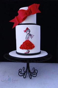 Red, Black, and White Cake