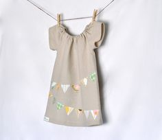 Bunting Applique Peasant Dress by PunkinThreads on Etsy