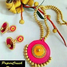 Quilling earings and Necklace