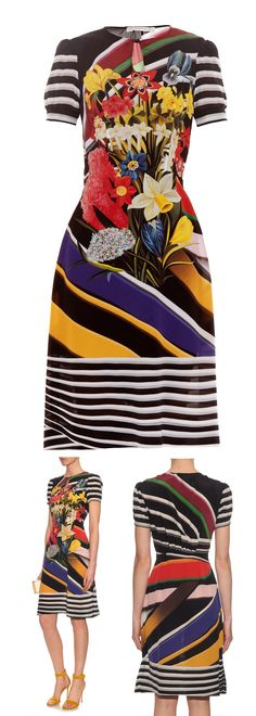 MARY KATRANTZOU Vitta Stripe Bouquet-print dress. Perfect for Spring Racing with it's spring flowers. Accessorise with a hat in any of the colours. French Navy, Golden Yellow, Tomato Red or a Monochromatic black and white fascinator or Headpiece. #fashion #fashionista #motherofthebride #affiliate #matchesfashion Fashions on the field Racing fashion