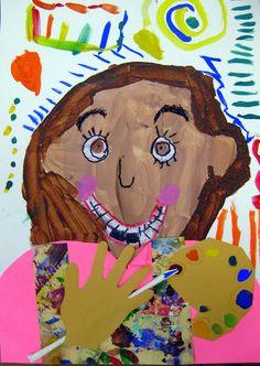 Cassie Stephens: In the Art Room: Kindergarten Self-Portraits as Artists Kindergarten Self Portraits, Kindergarten Art Lessons, Art Lessons Elementary, Plan Image, First Grade Art, Cool Art Projects, Diy Projects, Art Classroom, Teaching Art