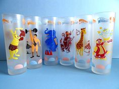 Vintage Libbey #Circus Tall Frosted Glasses by TimelessTreasuresbyM