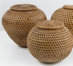 "Handmade Bali Indonesian Lombok Island Rattan Round Ball Baskets $17     Reg. $45    5"" tall x 6"" wide    Beautifully hand made baskets – these are all natural finish, traditional style handwoven rattan baskets from Indonesia. Woven with attention to detail."