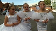 UK Irish Traveller girls in their beautiful dresses for their First Communion.  jj