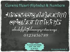Cursive Heart Alphabet and Numbers in .SVG .EPS .DXF & .Studio3 formats Craft Cut Die Cutters Digital Vector Files Instant Download by TheSVGFontStore on Etsy