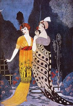 Designs by Russian painter Leon Bakst used bold hues, embroideries, heavy appliqué and 'harem' silhouettes, inspired by Orientalism.