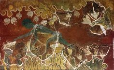 Minoan fresco or wall painitng. The Saffron Gatherer. Royal Palace at Knossos, Crete. c15th century BC. Bronze Age. Now reconstructed as Blue Monkies fresco. National Archaeological Museum of Herakeion, Cret