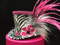Funky Pink and Zebra Mini Top Hat for Dress Up by daisyleedesign, $29.95