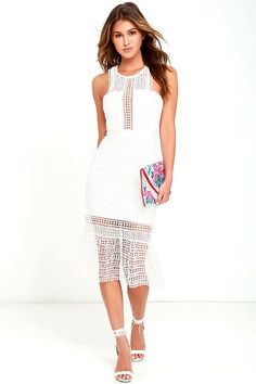 The Make It Happen White Lace Midi Dress is making all of our dreams come true! Stunning crocheted lace tops a knit bodice with an angular neckline and darting. Grosgrain ribbon accents the waist above a bodycon midi skirt with a sheer, trumpet hem. Exposed silver back zipper and top button.