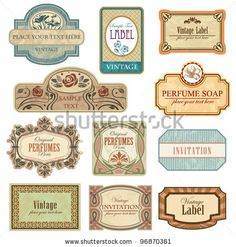 Ornate vintage labels. All elements separately. - stock vector