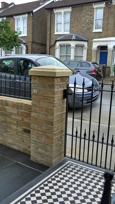 Dulwich And East Dulwich Victorian Black And White Mosaic Tile Path London Stock Brick Garden Wall Rails And Gate Brick Garden, Terrace Garden, Garden Tiles, Victorian Front Garden, Wall Railing, White Mosaic Tiles, Gates And Railings, Front Gardens, London Garden