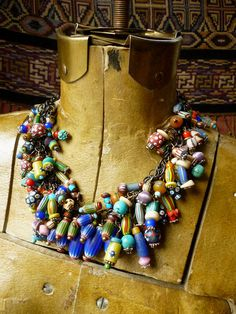 by Helena Nelson-Reed | Necklace; a collection of vintage African Trade beads, contemporary glass beads, and a few antique ethnographic and stone beads