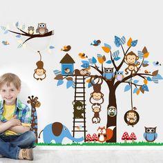 Monkey Giraffe Owl Bird Tree Wall Stickers Decal Home Art Baby Kids Nursery Vinyl Bedroom Stickers Large Size Jungle Wall Stickers, Bird Wall Decals, Animal Wall Decals, Removable Wall Stickers, Wall Art, Nursery Wall Stickers, Kids Stickers, Wall Stickers Murals, Sticker Mural