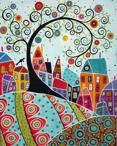 Bird Houses And A Swirl Tree Painting by Karla G    16x20 Original abstract folk art painting by Karla Gerard