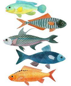 Something Fishy - fishes - watercolor & acrylic ink - Geninne D. Zlatkis