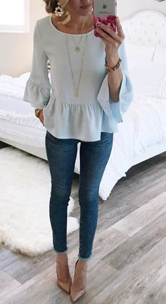 25 Modetrends 2019 - Stil Mode - Best Of Women Outfits Spring Summer Fashion, Autumn Fashion, Spring Style, Spring Wear, Mode Outfits, Fall Outfits, Womens Easter Outfits, Summer Jean Outfits, Blue Jeans Outfit Summer