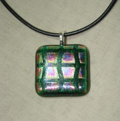 Green dichroic fused glass necklace | dancinghorsestudio - Jewelry on ArtFire  $16 plus shipping  15% off is you spend $20 or more in my Artfire shop - use code XMAS15.