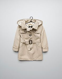 trench coat with piping and hood - Jackets - Baby girl (3-36 months) - Kids - ZARA Romania