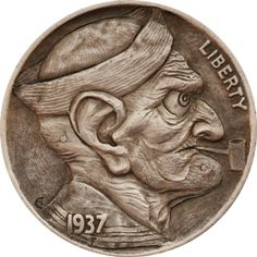Hobo nickel--carved from a buffalo nickel.