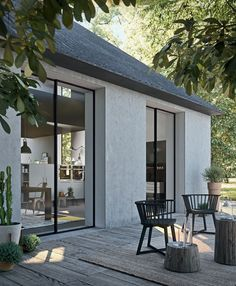 modern house exterior with modern outdoor seating, modern outdoor living room with modern outdoor chairs on modern pack patio design Modern Minimalist House, Modern House Design, Minimalist Interior, Minimalist Bedroom, Design Exterior, Interior And Exterior, Patio Design, Sofa Design, Architecture Design