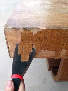 DIY: On Fixing Up Chipped Veneer. Furniture RepairRefinishing Laminate  FurniturePainting Veneer FurnitureSanding ...
