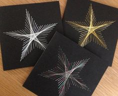 Christmas Star- Gold, White or Multi-coloured Christmas star on square black card by TwinnDesigns on Etsy