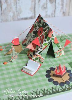 The Dining Room Drawers: Karen Burniston Design Team Challenge - Pop-Up Tent Card Paper Pop, Diy Paper, Paper Crafts, Pop Up Karten, Karten Diy, Arte Pop Up, Diy And Crafts, Crafts For Kids, Foam Crafts