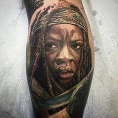 Walking Dead Tattoo, Different Colors, Tattoo Designs, Ink, Portrait, Tattoos, Tatuajes, Men Portrait, Tattoo
