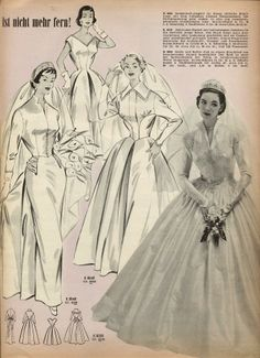 Full (and one more tapered) skirted, timelessly beautiful wedding dress styles (image 2 of Vintage Bridal, Vintage Love, Vintage Weddings, Vintage Style, Vintage Dresses, Vintage Outfits, Vintage Fashion, Wedding Dress Styles, Wedding Gowns