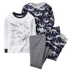 Carters Baby Boys 4Piece Snug Fit Cotton PJs IvoryNavy Dino 6M *** You can get more details by clicking on the image. (This is an affiliate link) #BabyBoyLayetteSets