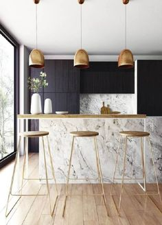 The most elegant Scandinavian kitchen design interior see at these unbelievable Scandinavian kitchen designs. They are every completely simple, protester and in the similar times elegant. Scandinavian kitchen designs can be white, grey or blue. Home Decor Kitchen, Kitchen Furniture, New Kitchen, Awesome Kitchen, Kitchen Ideas, Kitchen Modern, Brass Kitchen, Kitchen Black, Kitchen Industrial