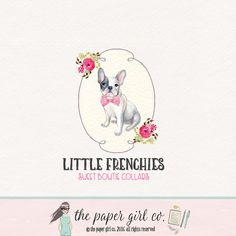 french bulldog logo pet collar logo dog boutique by ThePaperGirlCo
