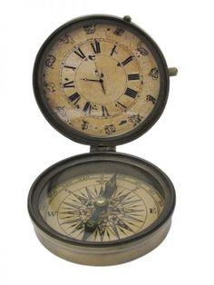 Kompass mit Uhr Messing antik, Ø: 8,5cm, H: 3,5/10cm